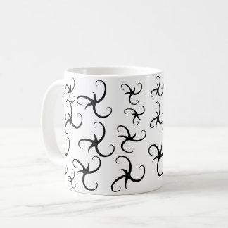 Schwarze Fülle-Stern-Bänder Kaffeetasse