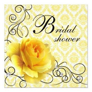Schwarze gelbe Rosen-Damast-Brautparty-Einladungen