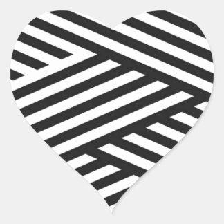 Schwarze geometrische Streifen-abstraktes Muster Herz-Aufkleber
