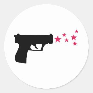 schwarze Gewehrstern-Pistolensterne Runder Aufkleber
