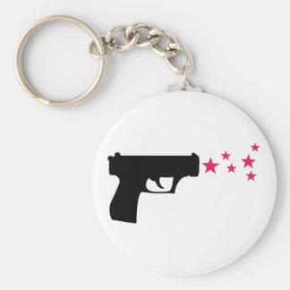 schwarze Gewehrstern-Pistolensterne Schlüsselband
