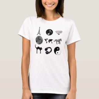 schwarze girly gruppierte Illustrationen T-Shirt