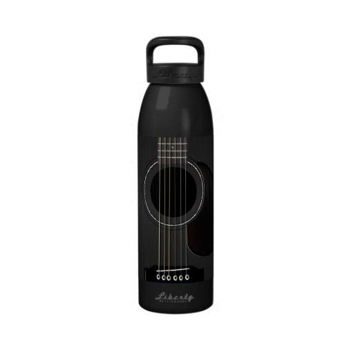 Schwarze Gitarre Trinkflasche