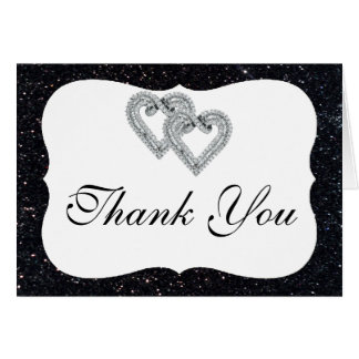 Schwarze Glitter-Diamant-Herzen danken Ihnen zu Karte