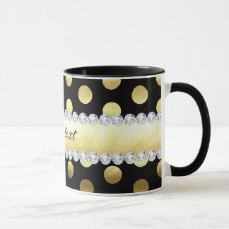 Schwarze Goldfolien-Tupfen-Diamanten Tasse