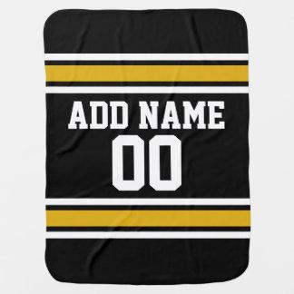 Schwarze Goldfußball-Jersey-Name-Zahl Puckdecke
