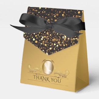 Schwarze GoldGlitzer-Diamant-hohe Fersen-Schuhe Geschenkschachtel