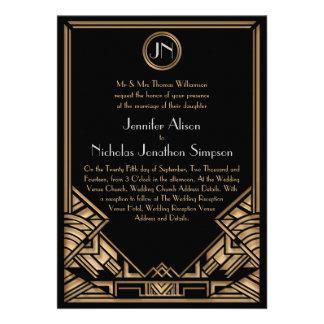 Schwarze Goldkunst-Deko Gatsby Art-Hochzeit lädt