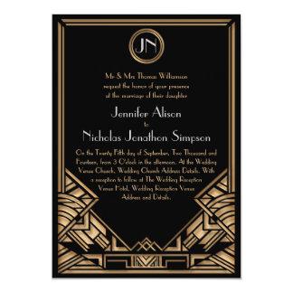 Schwarze Goldkunst-Deko Gatsby Art-Hochzeit lädt 12,7 X 17,8 Cm Einladungskarte