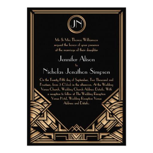 Schwarze Goldkunst-Deko Gatsby Art-Hochzeit lädt Personalisierte Ankündigungen