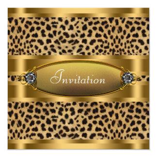 Schwarze Goldleopard-Party Einladung