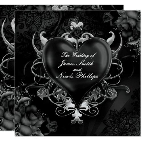 Schwarze Gotische Liebe Herz Hochzeits Einladungen Einladung ...