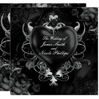 Schwarze gotische Liebe-Herz-Hochzeits-Einladungen Karte