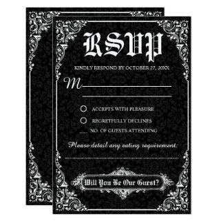 Schwarze gotische viktorianische Damast-Hochzeit Karte