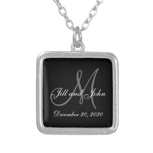 Schwarze graue elegante Monogramm-Hochzeit Personalisierte Halskette