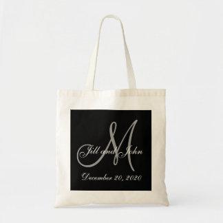 Schwarze graue elegante Monogramm-Hochzeit Einkaufstasche
