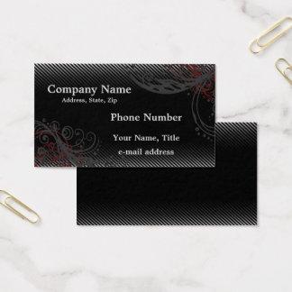 Schwarze graue Pinstripes und Wirbel Visitenkarte