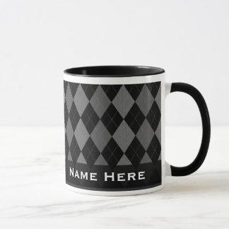 Schwarze/graue Rauten-Mode hübsch Tasse