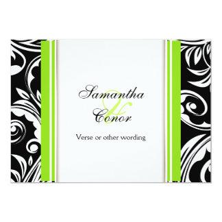 Schwarze grüne weiße Hochzeits-Verlobung 12,7 X 17,8 Cm Einladungskarte