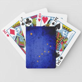 Schwarze Grunge-Alaska-Staats-Flagge Bicycle Spielkarten