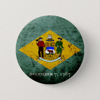 Schwarze Grunge-Delaware-Staats-Flagge Runder Button 5,1 Cm