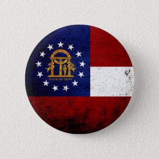 Schwarze Grunge-Georgia-Staats-Flagge Runder Button 5,7 Cm