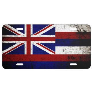 Schwarze Grunge-Hawaii-Staats-Flagge US Nummernschild