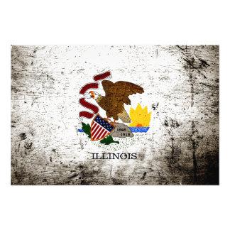 Schwarze Grunge-Illinois-Staats-Flagge Fotodruck