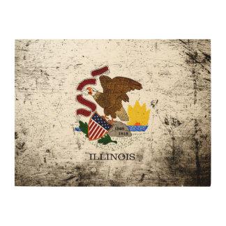 Schwarze Grunge-Illinois-Staats-Flagge Holzleinwand