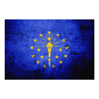 Schwarze Grunge-Indiana-Staats-Flagge Fotodrucke