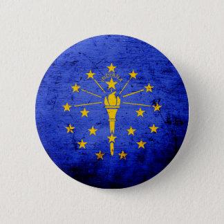 Schwarze Grunge-Indiana-Staats-Flagge Runder Button 5,7 Cm