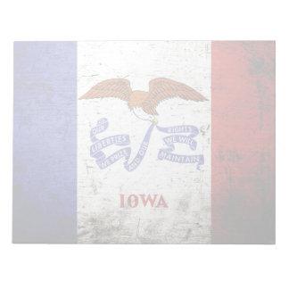 Schwarze Grunge-Iowa-Staats-Flagge Notizblock