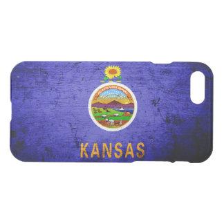 Schwarze Grunge-Kansas-Staats-Flagge iPhone 8/7 Hülle