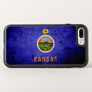 Schwarze Grunge-Kansas-Staats-Flagge OtterBox Symmetry iPhone 8 Plus/7 Plus Hülle