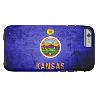Schwarze Grunge-Kansas-Staats-Flagge Tough iPhone 6 Hülle