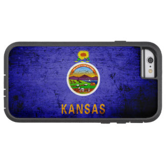 Schwarze Grunge-Kansas-Staats-Flagge Tough Xtreme iPhone 6 Hülle