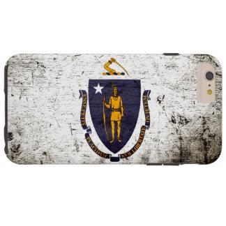 Schwarze Grunge-Massachusetts-Staats-Flagge Tough iPhone 6 Plus Hülle