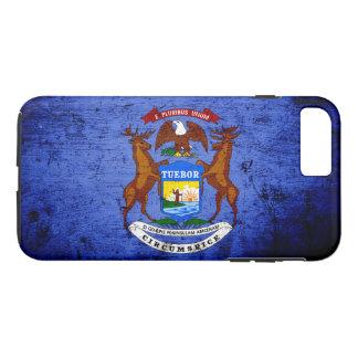 Schwarze Grunge-Michigan-Staats-Flagge iPhone 8 Plus/7 Plus Hülle