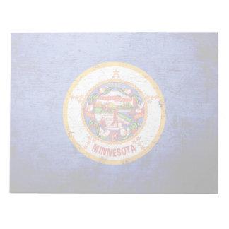 Schwarze Grunge-Minnesota-Staats-Flagge Notizblock