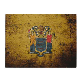 Schwarze Grunge-New-Jersey Staats-Flagge Holzleinwand
