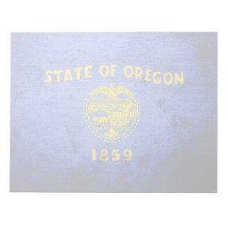 Schwarze Grunge-Oregon-Staats-Flagge Notizblock