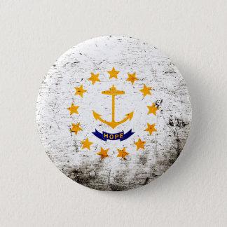 Schwarze Grunge-Rhode Island Staats-Flagge Runder Button 5,1 Cm