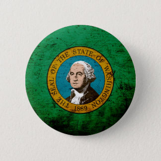 Schwarze Grunge-Washington-Staats-Flagge Runder Button 5,1 Cm