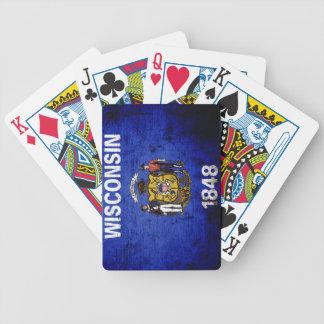 Schwarze Grunge-Wisconsin-Staats-Flagge Bicycle Spielkarten