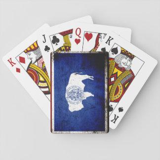 Schwarze Grunge-Wyoming-Staats-Flagge Spielkarten