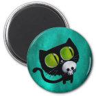Schwarze Halloween-Katze mit dem Schädel Runder Magnet 5,7 Cm