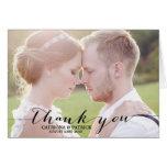 Schwarze handgeschriebene Skript-Hochzeit danken I Karte
