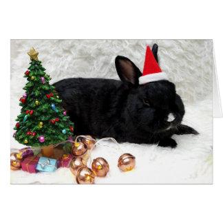 Schwarze Häschen-Weihnachtskarte Karte