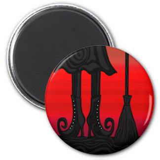 Schwarze Hexe Halloweens Runder Magnet 5,7 Cm