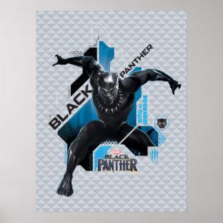 Schwarze High-Teche Charakter-Grafik des Panther-| Poster